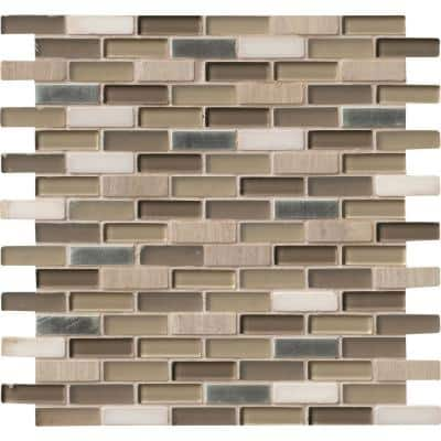 Silver Tip 12 in. x 12 in. x 8mm Glass and Stone Metal Mesh-Mounted Mosaic Wall Tile (10 sq. ft./Case)