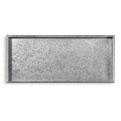 Classic Galvanized Gray Steel 30 in. x 13 in. Boot Tray for Boots, Shoes, Plants, Pet Bowls, and More