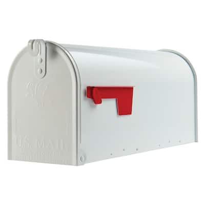Elite Medium, Steel, Post Mount Mailbox, White