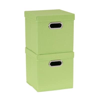 11 in. H x 11 in. W x 11 in. D Green Fabric Cube Storage Bin 2-Pack