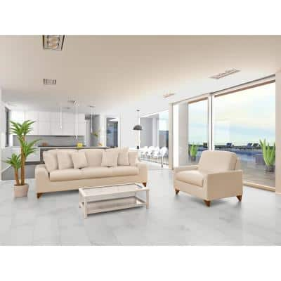 Carrara 12 in. x 24 in. Polished Porcelain Floor and Wall Tile (2 sq. ft. )