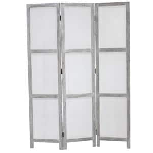 Breezer Mesh 5.5 ft. Gray 3-Panel Room Divider