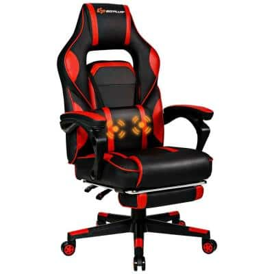 Red Vinyl Seat Massage Gaming Chairs with Arms