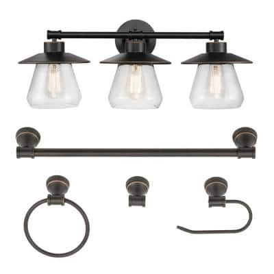 Nate 3-Light Oil Rubbed Bronze Vanity Light With Clear Glass Shades and Bath Set