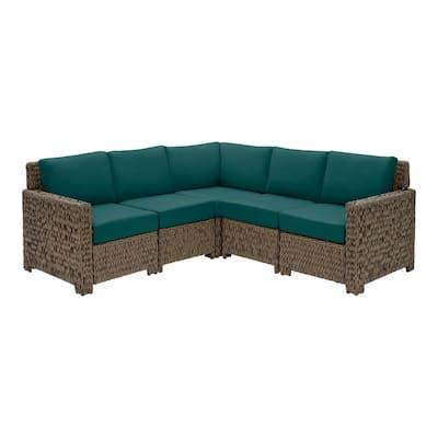 Laguna Point 5-Piece Brown Wicker Outdoor Patio Sectional Sofa Set with CushionGuard Malachite Green Cushions
