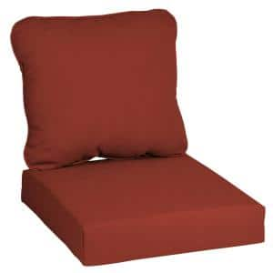 24 in. x 22 in. CushionGuard 2-Piece Deep Seating Outdoor Lounge Chair Cushion in Chili