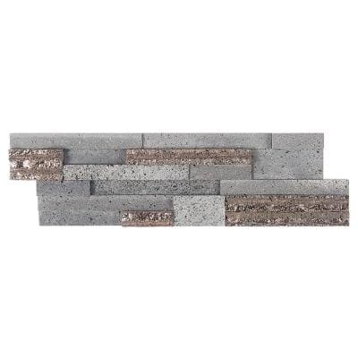 Cliffstone Steel Gray Ledger Panel 7.08 in. x 23.62 in. 10mm Matte Lava Stone Mosaic Tile (1.16 sq. ft.)