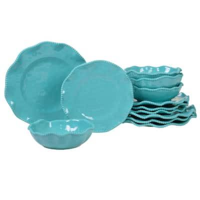 Perlette 12-Piece Solid Teal Melamine Outdoor Dinnerware Set (Service for 4)