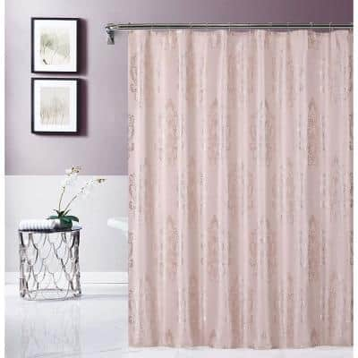 "Blush 70"" x 72"" Majestic Satin Embroidered Shower Curtain"