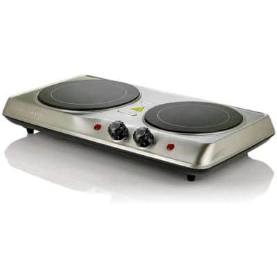 6.5 in. and 7 in. Silver Double Hot Plate Electric Glass Infrared Stove, 1700-Watt