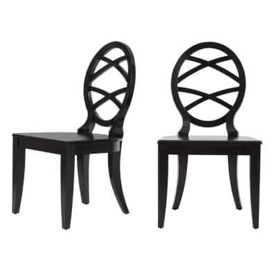 Home Decorators Collection Ebony Wood Dining Chair with Oval Back (Set of 2) (20.24 in. W x 36.87 in. H)