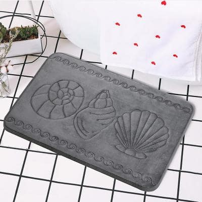 Cozy Cotton Candy Soft Dark Grey Sea Shell 20 in. x 32 in. Non-Slip Memory Foam Super Absorbent Bath Rug