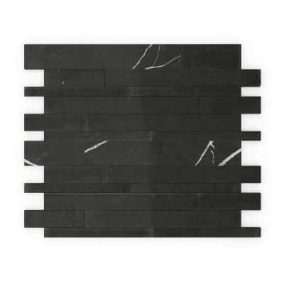 Onyxia Black 11.89 in. X 9.69 in. x 5 mm Stone Peel and Stick Wall Mosaic Tile