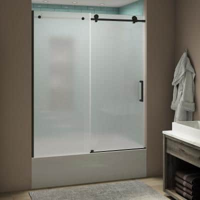 Coraline xL 56 - 60 in. x 70 in. Frameless Sliding Tub Door with Ultra-Bright Frosted Glass in Matte Black
