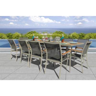 Essence Grey Seagull 11-Piece Aluminum Outdoor Dining Set with Sling Set in Pewter