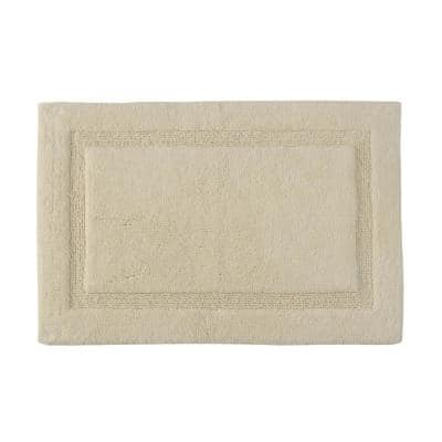 Regency Ivory 50 in. x 30 in. Cotton Latex Spray Non-Skid Backing Textured Border Machine Washable Bath Rug