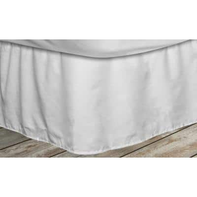 Frita 15 in. White Striped Twin Bed Skirt
