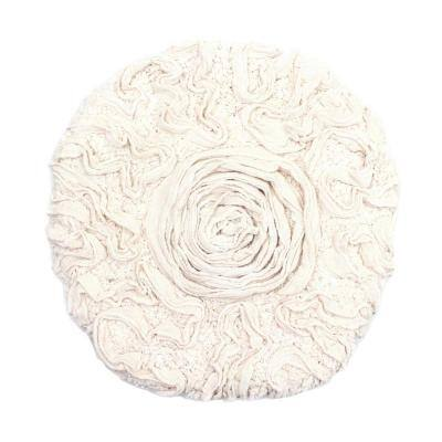 Bell Flower Collection Ivory 18 in. x 18 in. Cotton Bath Rug