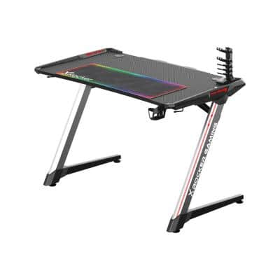 Black Lynx LED Gaming Desk with XL Mousepad and Game Holder, 47 in. D x 30 in. H x 25 in. W