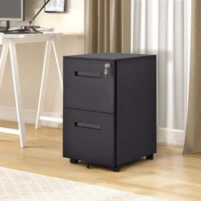 Black 2-Drawers File Cabinet with Lock Fully Assembled Except Wheels