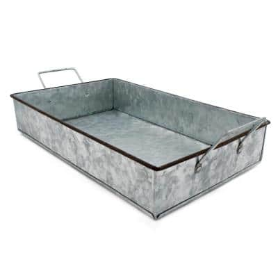 Project Craft Galvanized Metal Tray with Handles for Crafts and Indoor and Outdoor Decor, 14 in. x 8.5 in.