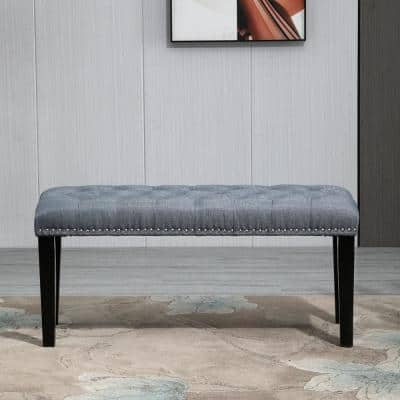 38 in. Grey Upholstered Bench