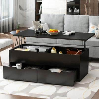 45.3 in. Black Lift Top Coffee Table with Hidden Storage Shelf and 2 Drawers