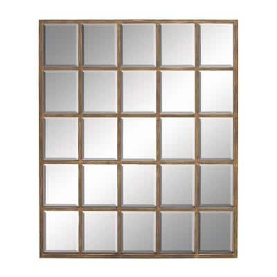 Large Modern Wood and Metal Brown Wall Mirror 44 in. x 56 in.