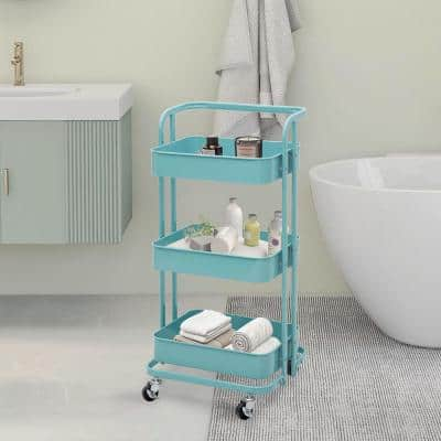35 in. 3 Tier Metal Foldable Rolling Utility Cart in Teal