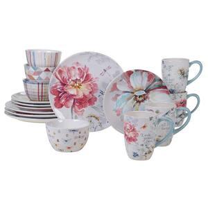 Spring Bouquet 16-Piece Seasonal Multicolored Earthenware Dinnerware Set (Service for 4)
