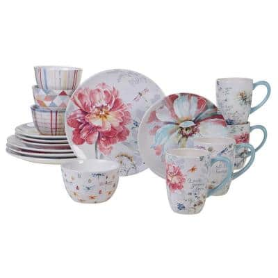 Spring Bouquet 16-Piece Seasonal Multicolored Earthenware Dinnerware Set (Service for 4)