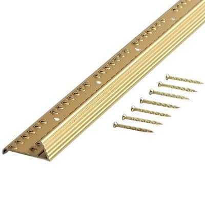 Satin Brass Fluted 72 in. Carpet Gripper with Teeth