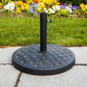 Round Metal Patio Umbrella Base in Black
