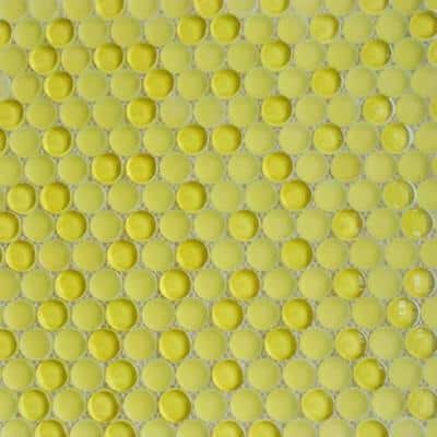 Contempo Yellow Circles 11-12 in. x 12 in. 8 mm Polished  and  Frosted Glass Mosaic Tile(0.96 sq. ft. )
