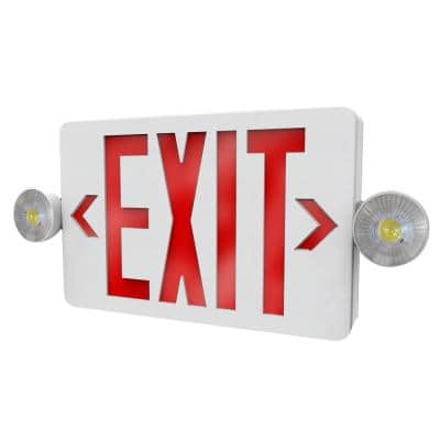 2-Light Thermoplastic LED White Exit/Emergency Combo with Interchangeable Red and Green Lenses