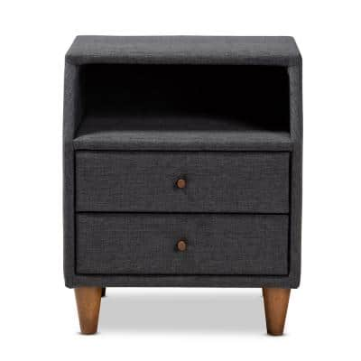 Claverie 2-Drawer Charcoal Nightstand