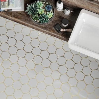 Laurel Brass White 8.5 in. x 14.875 in. Hexagon Honed Marble and Gold Metal Wall and Floor Mosaic Tile