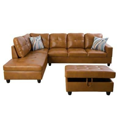 Living-3-Piece-Brown-Faux Leather-6 Seats-L-Shaped-Left Facing-Sectionals