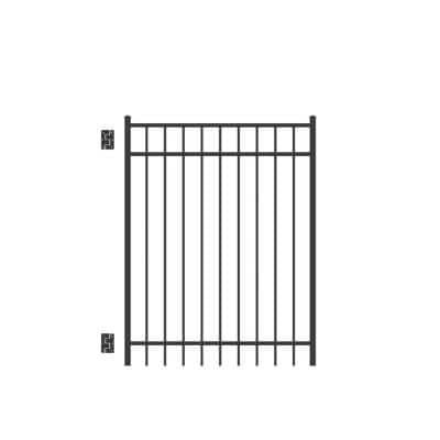 Natural Reflections 4 ft. W x 5 ft. H Black Standard-Duty Aluminum Straight Pre-Assembled Fence Gate