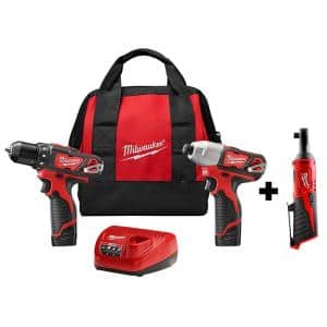 M12 12-Volt Lithium-Ion Cordless Drill Driver/Impact Combo Kit (2-Tool) with M12 Cordless 3/8 in. Ratchet (Tool-Only)
