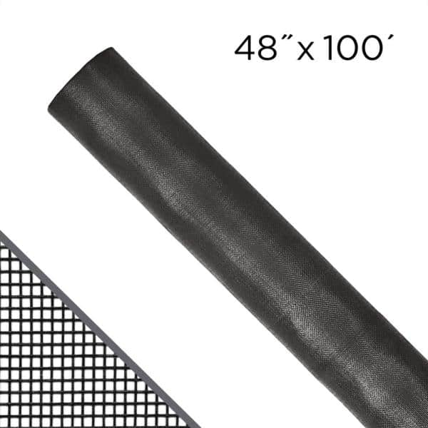 x 100 ft charcoal fiberglass screen Details about  /48 in