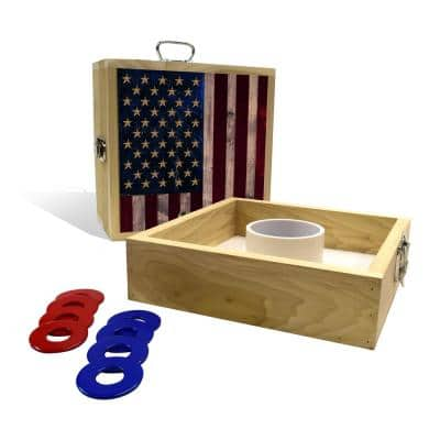 Rustic American Flag Washer Toss Game