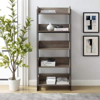64 in. Gray Wash Wood and Metal 5-Shelf Bookcase