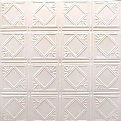 Pattern #19 24 in. x 24 in. Creamy White Satin Tin Wall Tile Backsplash Kit (5 pack)