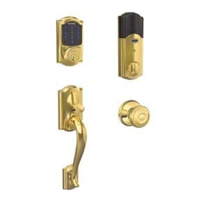 Camelot Bright Brass Connect Smart Lock with Alarm and Georgian Door Knob Handleset