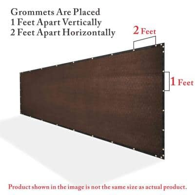 6 ft. x 50 ft. Heavy-Duty PLUS Brown Privacy Fence Screen Mesh Fabric with Extra-Reinforced Grommets for Garden Fence