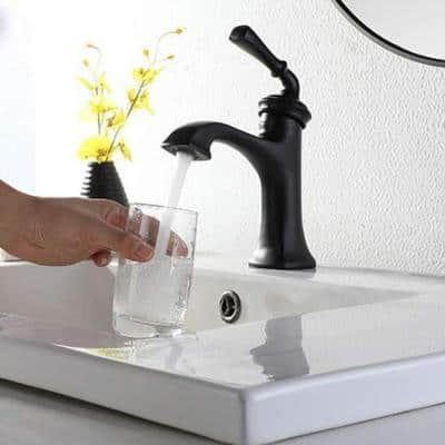 Single Hole Single Handle Bathroom Faucet Antique Vanity Sink Faucets in Matte Black