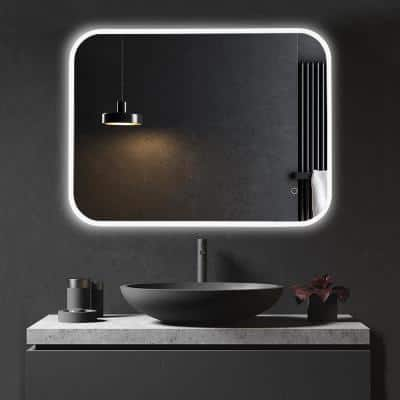 36 in x 28 in Frameless Vanity 3-Color Lighted Wall Mounted LED Bathroom Mirror With Dimmer Memory Touch Switch Anti Fog