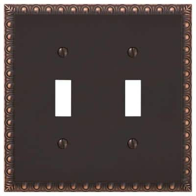 Antiquity 2 Gang Toggle Metal Wall Plate - Aged Bronze