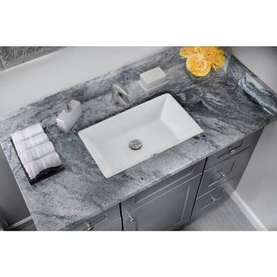 Rectangular Glazed Ceramic Undermount Bathroom Vanity Sink in White